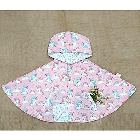 Áo khoác chống nắng cho bé gái 4 mùa kiểu áo cánh dơi poncho  mẫu pony unicon ngựa một sừng kì lân hồng dễ thương
