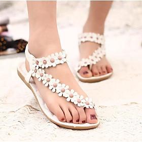 Womens Flat BOHO Sandals On Toe Post Studded Gladiator Flower Summer Shoes