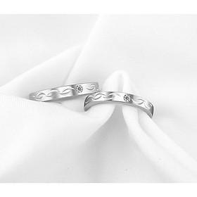 Nhẫn đôi inox đính đá cao cấp chạm khắc tinh tế