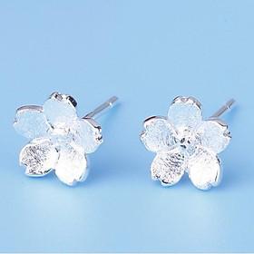 Bông tai, khuyên tai bạc 925 hình 5 cánh hoa, hoa mai, hoa đào dễ thương, đáng yêu cho nữ