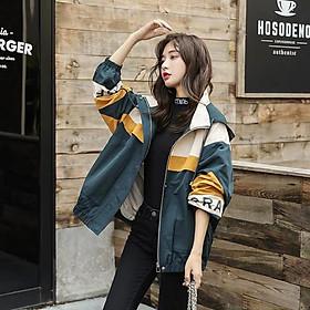 Áo khoác dù nữ phối sọc cá tính sành điệu thời trang HHP