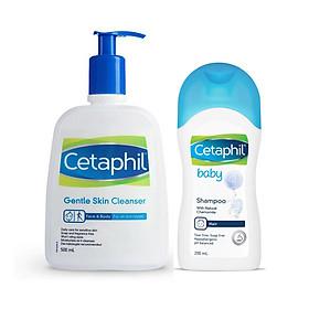 Combo Sữa Rửa Mặt Dịu Nhẹ Cetaphil Gentle Skin Cleanser 500ml Và Dầu Gội Cetaphil Baby Shampoo 200ml