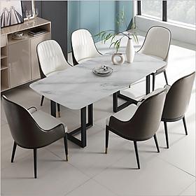 Bộ Bàn Ăn Mặt Đá và 6 ghế da cao cấp, bộ bàn ăn 6 ghế nhập khẩu BA-13