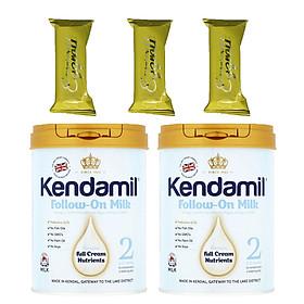 Combo 2 hộp Sữa bột nguyên kem KENDAMIL số 2 900g (6-12 tháng tuổi) - Tăng trưởng chiều cao và Phát triển trí não, tăng cân, tăng sức đề kháng – Tặng 3 bánh quế cuộn hiệu Kapad
