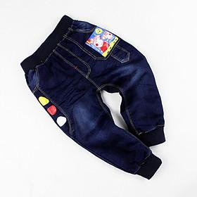 Quần jean dài in heo Peppa lưng bo co giãn thoải mái cho bé trai 1-6 tuổi từ 10 đến 22 kg 02120