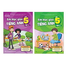Sách - Combo Em học giỏi tiếng Anh lớp 5 Có mã cào sau sách thay cho CD (Tái bản 2020 có sửa chữa bổ sung trọn bộ 2 tập)