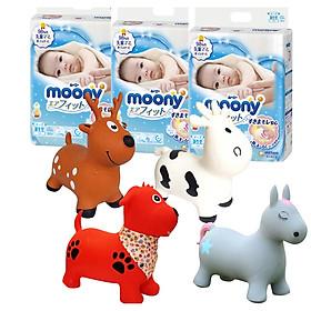 Combo 3 gói tã dán Moony cao cấp size NB90/S84/M64/L54/XL44 tặng thú nhún Toys House-0