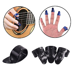 Set of 4 Thumb Finger Guitar Picks Guitar Plectrums Picks Bass Acoustic Guitar Electric Guitar Accessory