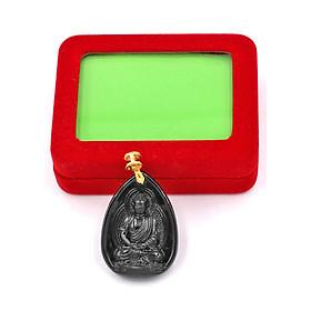 Hình đại diện sản phẩm Mặt dây chuyên Dược Sư Lưu Ly Quang Vương Phật đá thạch anh đen 4cm MEDS9 kèm hộp nhung