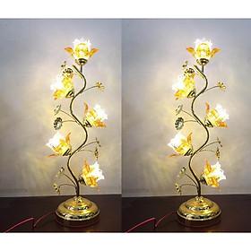Cặp đèn thờ 5 bông hoa thủy tinh
