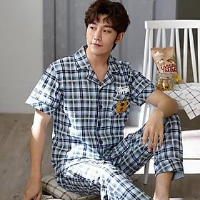 Đồ bộ Pijama cộc tay họa tiết sọc Caro style Hàn Quốc-Đồ bộ nam vải COTTON 100% dày dặn & thông thoáng (613)
