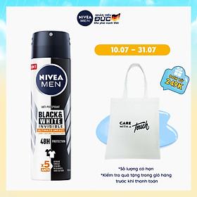 Xịt Ngăn Mùi NIVEA MEN Black & White Ngăn Vệt Ố Vàng Vượt Trội 5in1 (150ml) - 85388