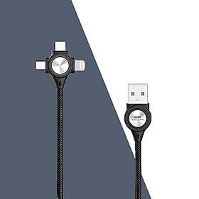 Dây cáp sạc lò xo 3 đầu iphone , samsung , type-C. dây sạc đa năng dùng trên oto