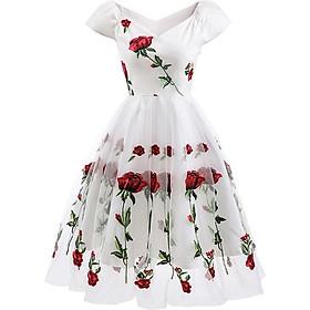 Váy Nữ Chữ A In Hoa Tay Ngắn Phối Ren