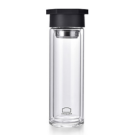 Lock&Lock Glass Cup/Water Cup Double-layer Heat-resistant, Lightweight and Portable 350ML LLG655GRY-PR