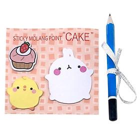 Giấy Ghi Chú Note Phân Trang Molang & Piu Piu Tặng Kèm Bút Chì - Cake