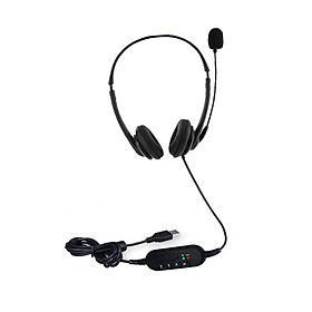 USB Plug Corded Headset Hands-Free Binaural Headphone with Noise Cancelling Microphone Mute Volume Control Button for