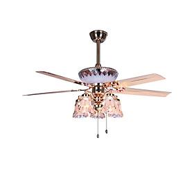 Quạt trần đèn trang trí - Quạt trần cánh sắt 5 cánh đẹp và mát L5899