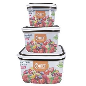 Bộ hộp nhựa đựng thực phẩm COMET Bộ 3 hộp vuông - CH1669