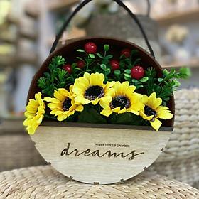 Giỏ hoa treo tường trang trí nhà cửa chữ Dreams (Bao gồm Hoa)