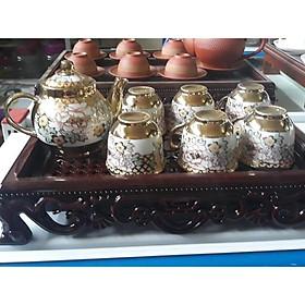 Bộ ấm sứ 6 ly trà ( kèm khay gỗ )