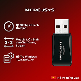 Bộ Chuyển Đổi USB Wifi Mini Mercusys MW300UM N300 - Hàng Chính Hãng