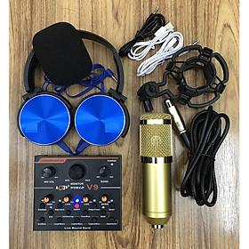 combo Bộ Míc Thu Âm Livestream Hát Karaoke Online Micro BM-900+ CARD V9 Tặng Tai 450