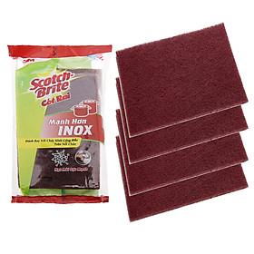 Gói 4 Miếng Chữ Nhật Cước cọ rửa Scotch Brite 3M 7447 Mạnh hơn inox (10x15cm)