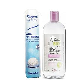 Combo Nước tẩy trang Natury Bio I'Eau Micellar Water 530ml + Bông Tẩy Trang ELEGANT 2 Lớp Beauty 140 Miếng t