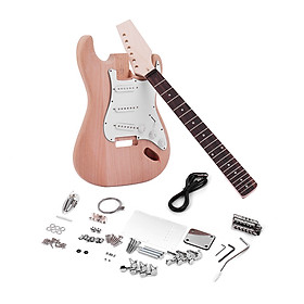 Bộ Dụng Cụ DIY Lắp Ráp Đàn Guitar Điện Kiểu Dáng ST Thân Gỗ Và Cổ Bàn Phím Gỗ Hồng Sắc Muslady