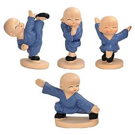 4x Little Monk Statue 6/7cm Desktop Figurine Mini Small Bookcase Ornament