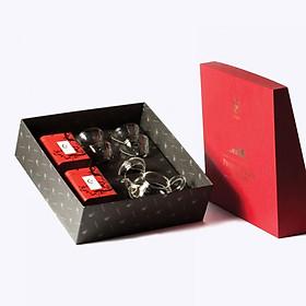 Hộp Cát Tường (hộp quà tặng Trà Việt) - Bộ tứ ẩm thủy tinh trà Ô Long, trà Hồng Trà