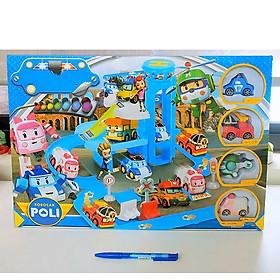 Bộ đồ chơi lắp ráp, xếp hình Trạm đua xe đường trượt của biệt đội Đội bay biến hình Poli Robocar Policar