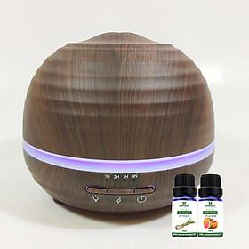 Máy khuếch tán bí tròn vân gỗ tối FX2037 + Tinh dầu sả chanh + Tinh dầu bưởi chùm Lorganic (10mlx2)