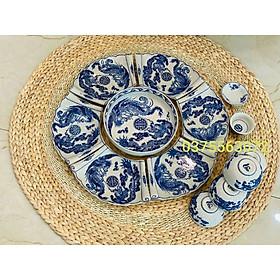 Set bộ bát đĩa mâm thắp hương dòng men rạn giả cổ vẽ chàm xanh