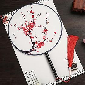Quạt tròn cầm tay cành đào đỏ phong cách cổ trang Trung Quốc tặng ảnh Vcone