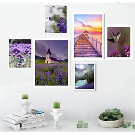 Tranh Canvas treo tường phòng khách, phòng ăn - Bộ 06 tranh hiện đại tặng kèm khung và đinh treo tường