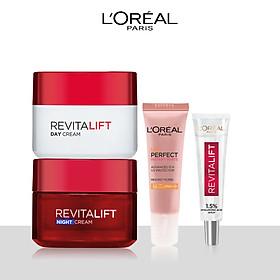 Bộ đôi kem dưỡng chống lão hóa dưỡng ẩm,bảo vệ da ngày và đêm L'Oreal Paris Revitalift (Kem N-D,HA mini,KCN mini)