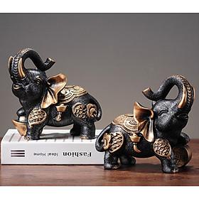 Cặp Voi con phong thủy Tài Lộc - Bình An size 19x10x18cm