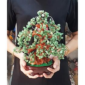 Cây Tài Lộc bằng đá Thạch Anh màu xanh size 30cm