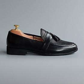 Giày lười nam da bò cao cấp - Thiết kế lịch lãm hàng hiệu Fu Khang màu Đen mã GL01200D