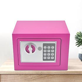 Két sắt mini điện tử nhỏ màu hồng không có khe nhét tiền