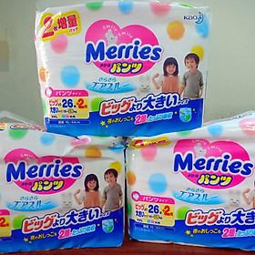 Combo 3 bịch tã/ quần tã Merries XXL 26+2