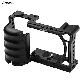 Andeor Video Camera Cage Rig Cold Shoe Mount Universal 1/4 3/8 Threaded Holes with Wrench Replacement for Sony A6000