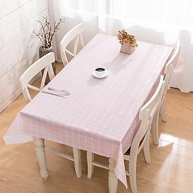 Khăn trải bàn PVC không thấm nước lót bàn ăn - Hồng