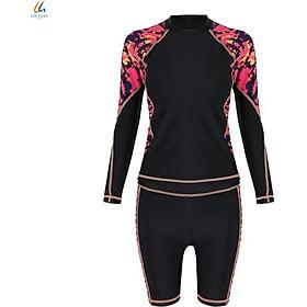 Đồ bơi liền mảnh Lan Hạnh nữ áo tay dài quần shorts Đen họa tiết 21087-DE102