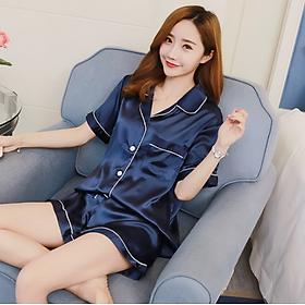 Bộ đồ ngủ nữ, đồ mặc nhà trơn màu - Pijama lụa ngắn - DNN005