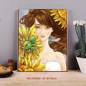 Tranh tự tô màu theo số sơn dầu số hóa cô gái hoa hướng dương AN4026