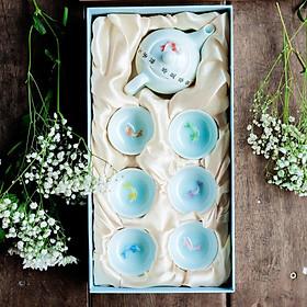 Bộ ấm chén uống, pha trà Lý Ngư xuất Nhật 7 màu (Qùa tặng, Biếu trong dịp Lễ Tết, Tân gia, ...)