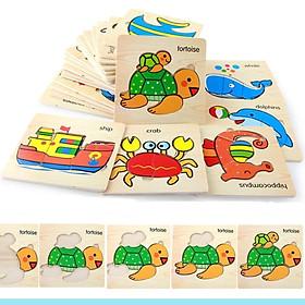 Bộ 10 tranh ghép hình 2D thông minh bằng gỗ cho bé - đồ chơi thông minh MK001